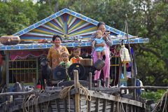 Cambodian Children on Tonle Sap Lake Royalty Free Stock Images
