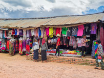 Cambodian clothes market in rural area Stock Images