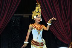 Cambodian dancer with the traditional costume. December 2012, Siem Reap, Angkor Wat area (Cambodia) - Khmer classical dancer with the traditional costume Stock Photos