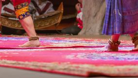 Cambodian dancers feet in the traditional theater on stage stock footage