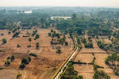 Cambodian fields from above. Cambodian fields from aerial view stock photography