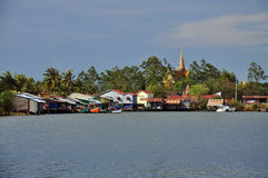 Cambodian fishing village and stilt houses Royalty Free Stock Photo