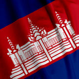 Cambodian Flag Closeup Stock Image