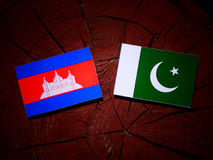 Cambodian flag with Pakistan flag on a tree stump isolated. Cambodian flag with Pakistan flag on a tree stump stock illustration