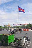 Cambodian flag in Phnom Penh Royalty Free Stock Photo