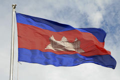Cambodian flag waving in the wind Stock Photos