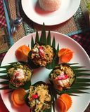 Cambodian Food Layout. With rice ball stock photo