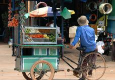 Cambodian Fruit Seller stock images