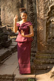 Cambodian Girl in Dancing in Khmer Dress in Ancient Building of Angkor City Royalty Free Stock Photos