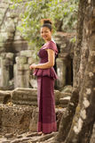 Cambodian Girl in Khmer Dress at Ta Prohm, Angkor City Royalty Free Stock Images
