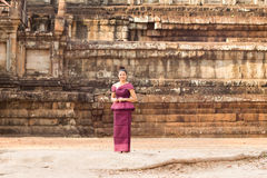 Cambodian Girl in Khmer Dress Standing by Phimeanakas in Angkor City Stock Photos