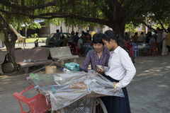 Cambodian girls in a street market. Kampot, Cambodia Royalty Free Stock Photography