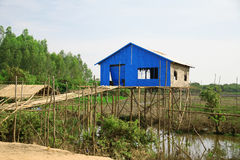 Cambodian house at Tonle Sap Royalty Free Stock Photo
