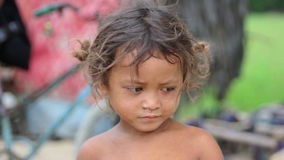 Cambodian kids in slums near phnom penh city dumping area stock footage