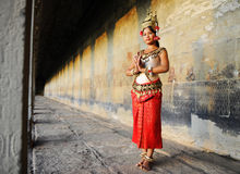 Cambodian Lady Beautiful Costume Traditional Culture Concept Stock Photos