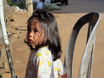 Cambodian little girl. Cambodian children, a little girl on the street. People living in Cambodia. South east Asia Royalty Free Stock Photography