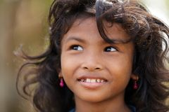 Cambodian little girl portrait. In a village near Siem Reap, Cambodia on December 04, 2012 Stock Photos
