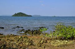 Cambodian mainland from Rabbit Island Royalty Free Stock Images
