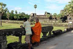 Cambodian monk in Angkor wat temple Royalty Free Stock Image