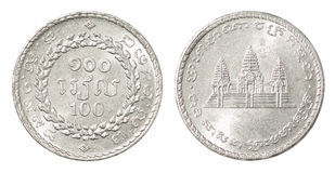 Cambodian one hundred riel coin Royalty Free Stock Photos