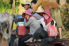 Cambodian passengers in oxcart Royalty Free Stock Image