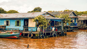 Cambodian people live on Tonle Sap Lake in Siem Reap, Cambodia. The floating village on Tonle Sap lake Stock Image