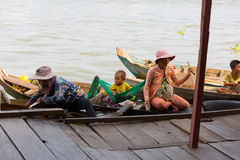 Cambodian people live on Tonle Sap Lake Royalty Free Stock Photos