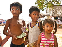 Cambodian people live beside Tonle Sap Lake in Siem Reap, Cambodia Stock Photography
