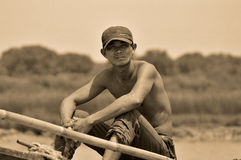 Cambodian people live beside Tonle Sap Lake Royalty Free Stock Images