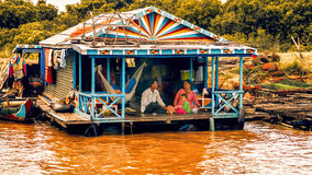 Cambodian people live on Tonle Sap Lake in Siem Reap, Cambodia. Unidentified people in a Floating village on the Tonle Sap Lake Stock Photo