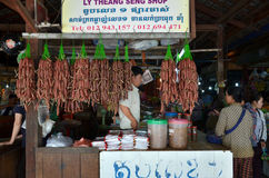 Cambodian people sells food in the market Royalty Free Stock Photo