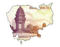 100 cambodian riel bank note obverse in shape of cambodia. Specimen Royalty Free Illustration
