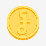 Cambodian riel symbol on gold coin Royalty Free Stock Photo