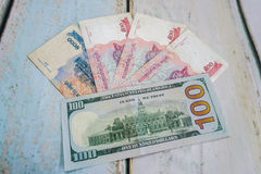 Cambodian riels and american dollar usd Stock Image