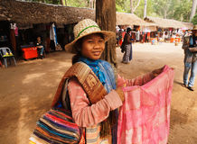 Cambodian scarf seller, Angkor wat Royalty Free Stock Images
