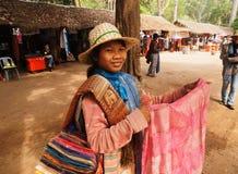 Cambodian scarf seller, Angkor wat Royalty Free Stock Images