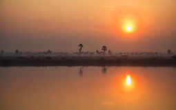 Cambodian sunrise Royalty Free Stock Photos