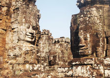 Cambodian temple faces Bayon. Cambodian temple faces situated in the Ankgor Wat area known as Bayon Stock Photo