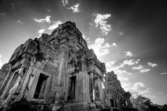 Cambodian temple ruins - black & white Royalty Free Stock Image