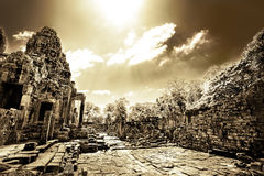 Cambodian temple ruins in monochrome Royalty Free Stock Photo