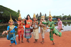 Cambodian traditional dancers and tourist Stock Photography