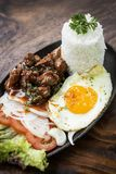 Cambodian traditional khmer beef lok lak meal Stock Photos