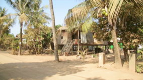 Cambodian tranquil village houses in rural life, Cambodia stock video footage