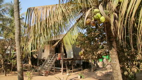 Cambodian tranquil village houses in rural life, Cambodia stock footage