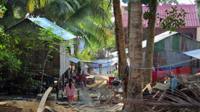 Cambodian tranquil village houses in rural life stock video footage