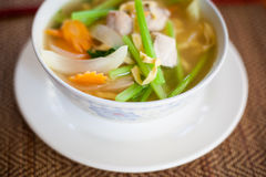Cambodian vegetable soup with fish Stock Photo