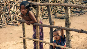 Cambodian village children stock image