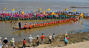 Cambodian water festival boat race Royalty Free Stock Photography