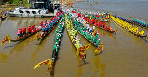 Cambodian water festival boat race Stock Photos