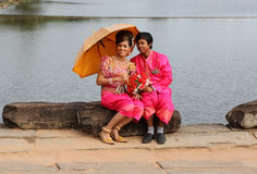 Cambodian Wedding. Cambodian bride and groom in formal attire Stock Image